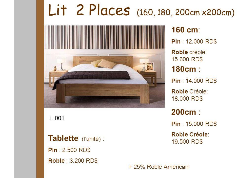 Lit 2 Places (160, 180, 200cm x200cm) 160 cm: Pin : 12.000 RD$ Roble créole: 15.600 RD$ 180cm : Pin : 14.000 RD$ Roble Créole: 18.000 RD$ 200cm : Pin