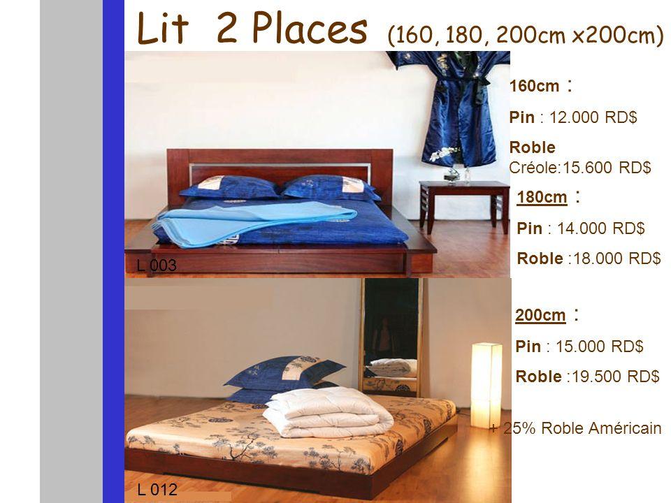 Lit 2 Places (160, 180, 200cm x200cm) ) 160cm : Pin : 12.000 RD$ Roble Créole:15.600 RD$ 180cm : Pin : 14.000 RD$ Roble :18.000 RD$ 200cm : Pin : 15.0