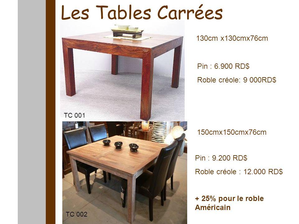 Les Tables Carrées 130cm x130cmx76cm 150cmx150cmx76cm Pin : 9.200 RD$ Roble créole : 12.000 RD$ + 25% pour le roble Américain Pin : 6.900 RD$ Roble cr