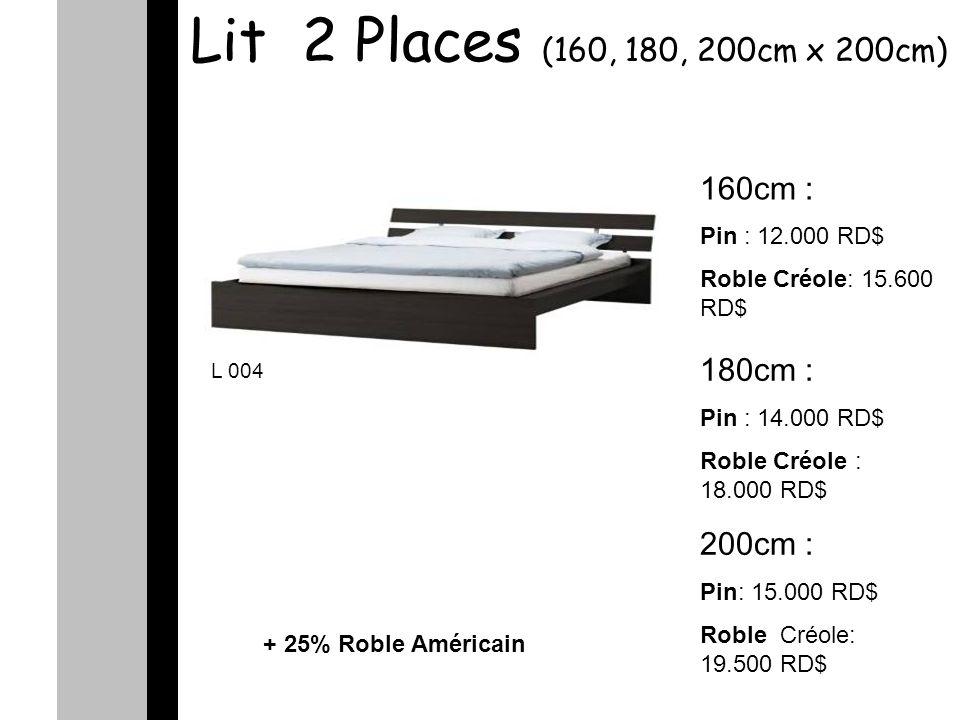 Lit 2 Places (160, 180, 200cm x 200cm) 160cm : Pin : 12.000 RD$ Roble Créole: 15.600 RD$ 180cm : Pin : 14.000 RD$ Roble Créole : 18.000 RD$ 200cm : Pin: 15.000 RD$ Roble Créole: 19.500 RD$ L 004 + 25% Roble Américain