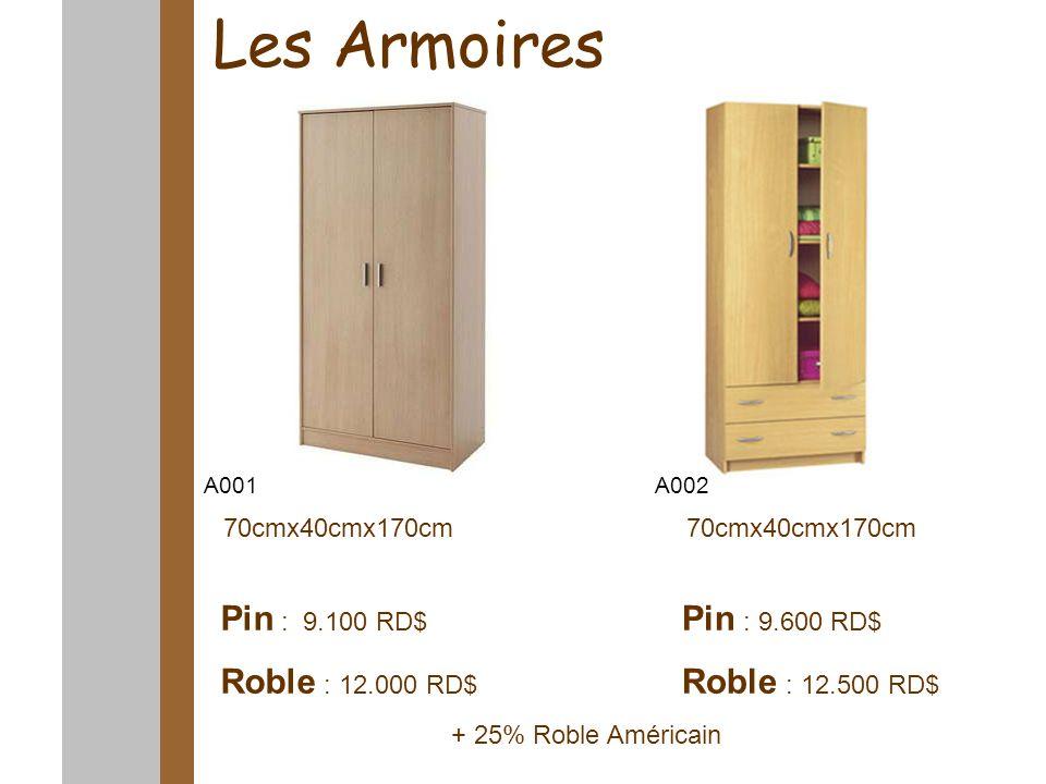 Les Armoires 70cmx40cmx170cm Pin : 9.100 RD$ Roble : 12.000 RD$ Pin : 9.600 RD$ Roble : 12.500 RD$ A001A002 + 25% Roble Américain