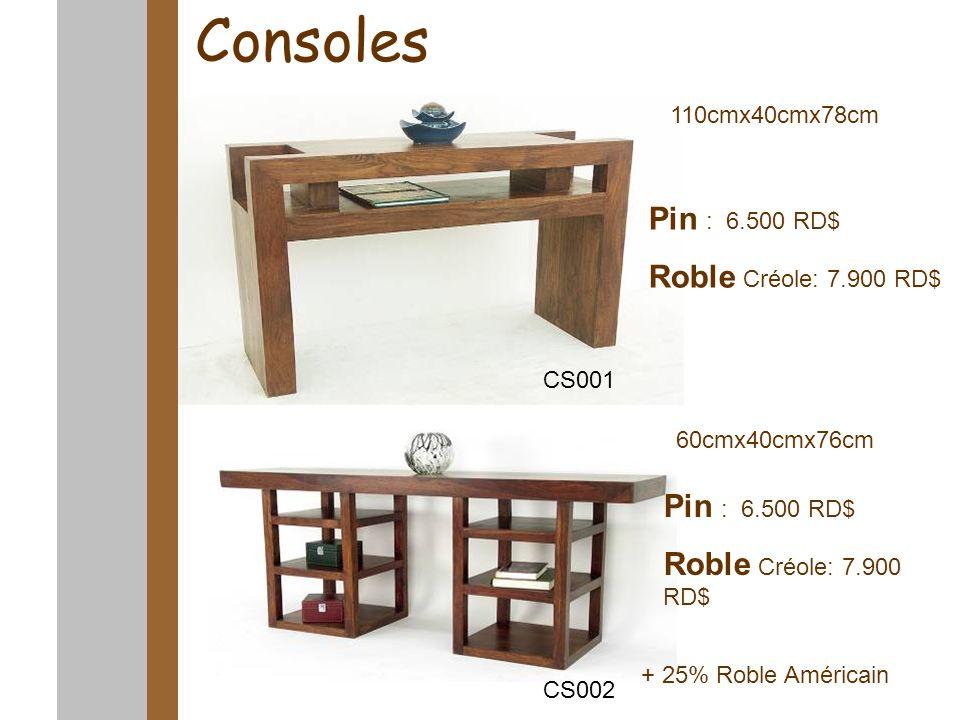 Consoles 110cmx40cmx78cm 160cmx40cmx76cm Pin : 6.500 RD$ Roble Créole: 7.900 RD$ Pin : 6.500 RD$ Roble Créole: 7.900 RD$ CS001 CS002 + 25% Roble Améri