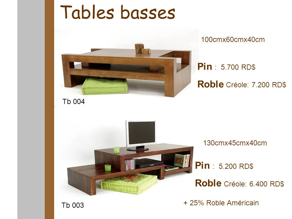 Tables basses 100cmx60cmx40cm Pin : 5.700 RD$ Roble Créole: 7.200 RD$ Pin : 5.200 RD$ Roble Créole: 6.400 RD$ Tb 004 Tb 003 130cmx45cmx40cm + 25% Robl