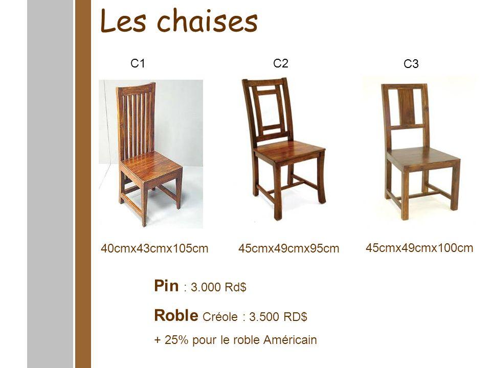 Les chaises 45cmx52cmx105cm45cmx52cmx106cm45cmx49cmx101cm Pin : 3.000 RD$ Roble Créole: 3.500 RD$ + 25% pour le roble Américain C6C4C5