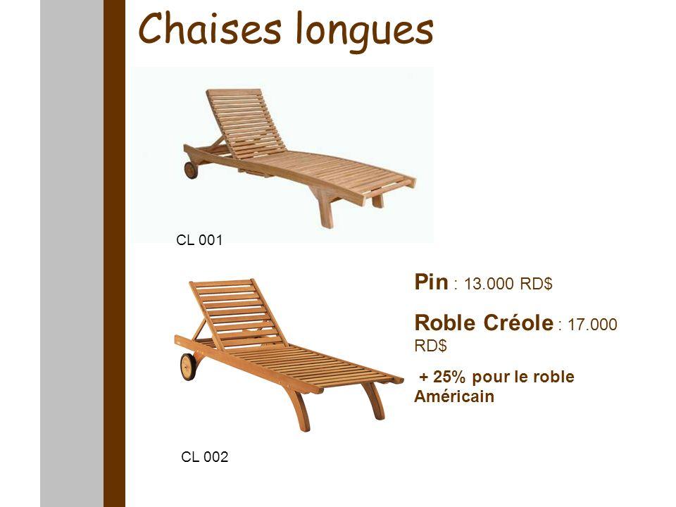 Chaises longues Pin : 13.000 RD$ Roble Créole : 17.000 RD$ + 25% pour le roble Américain CL 001 CL 002