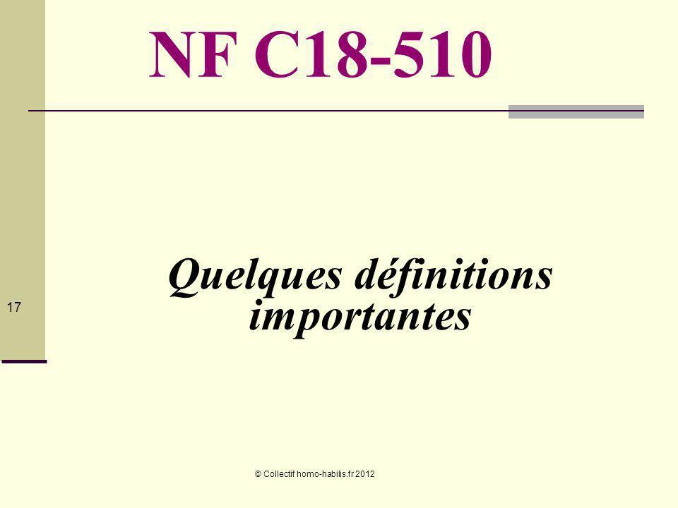 © Collectif homo-habilis.fr 2012 17 Quelques définitions importantes NF C18-510