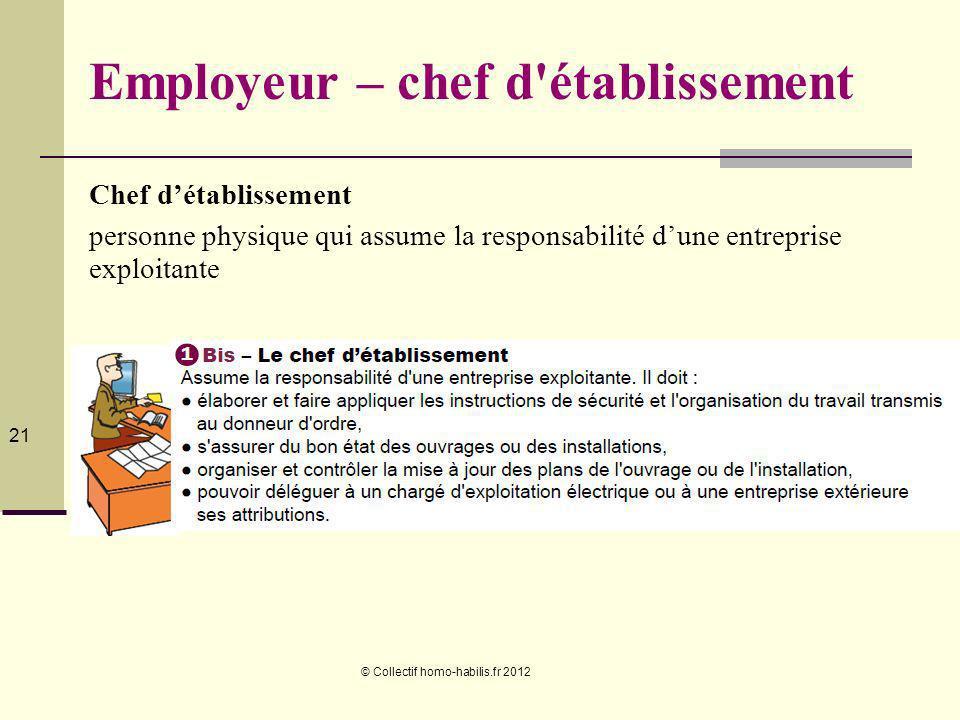 © Collectif homo-habilis.fr 2012 21 Employeur – chef d établissement Chef détablissement personne physique qui assume la responsabilité dune entreprise exploitante