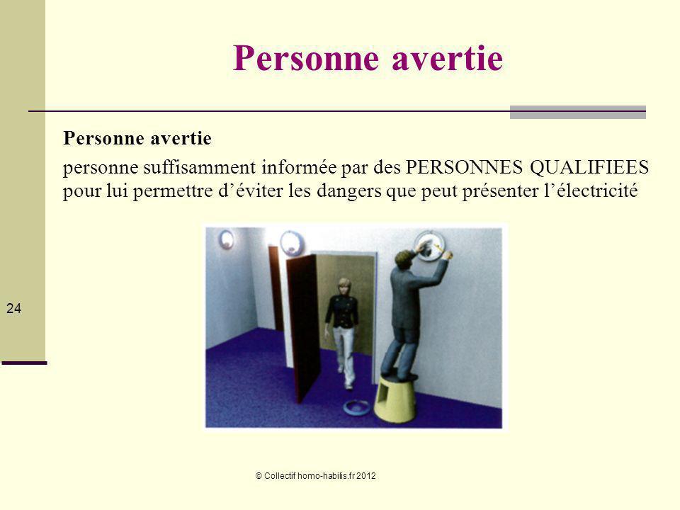 © Collectif homo-habilis.fr 2012 24 Personne avertie personne suffisamment informée par des PERSONNES QUALIFIEES pour lui permettre déviter les dangers que peut présenter lélectricité
