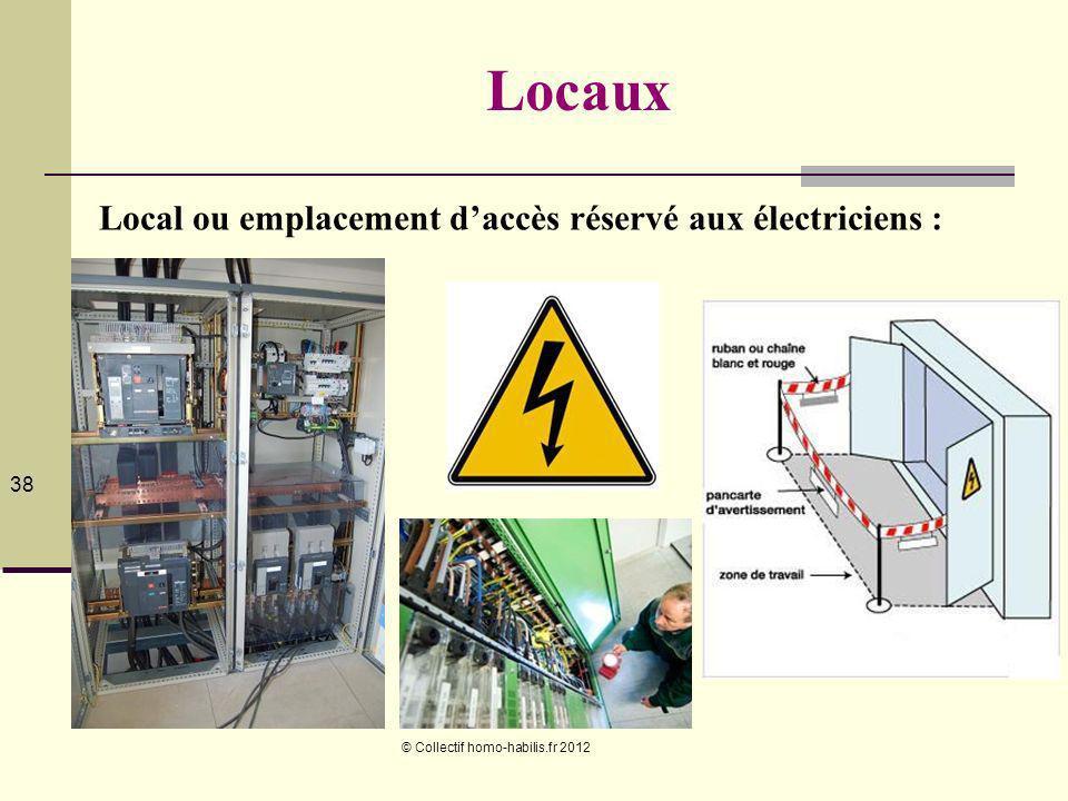 © Collectif homo-habilis.fr 2012 38 Locaux Local ou emplacement daccès réservé aux électriciens :