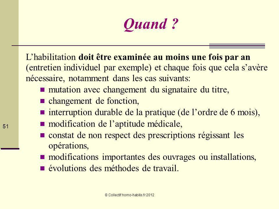 © Collectif homo-habilis.fr 2012 51 Quand .