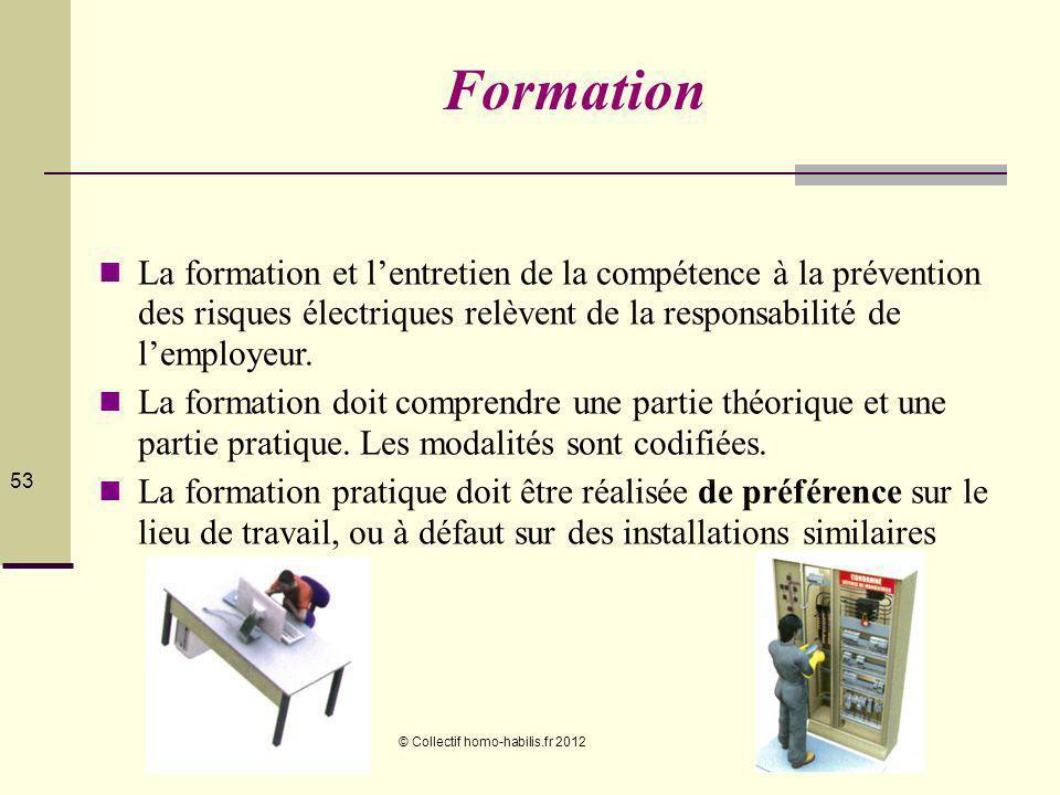© Collectif homo-habilis.fr 2012 53 Formation La formation et lentretien de la compétence à la prévention des risques électriques relèvent de la responsabilité de lemployeur.