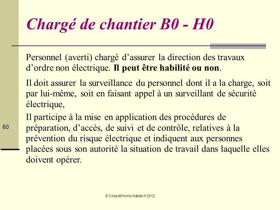 © Collectif homo-habilis.fr 2012 60 Chargé de chantier B0 - H0 Personnel (averti) chargé dassurer la direction des travaux dordre non électrique.