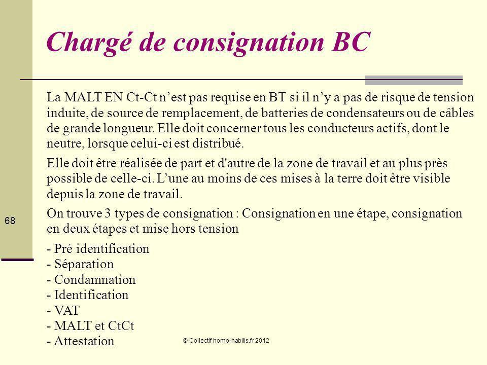 © Collectif homo-habilis.fr 2012 68 Chargé de consignation BC La MALT EN Ct-Ct nest pas requise en BT si il ny a pas de risque de tension induite, de source de remplacement, de batteries de condensateurs ou de câbles de grande longueur.