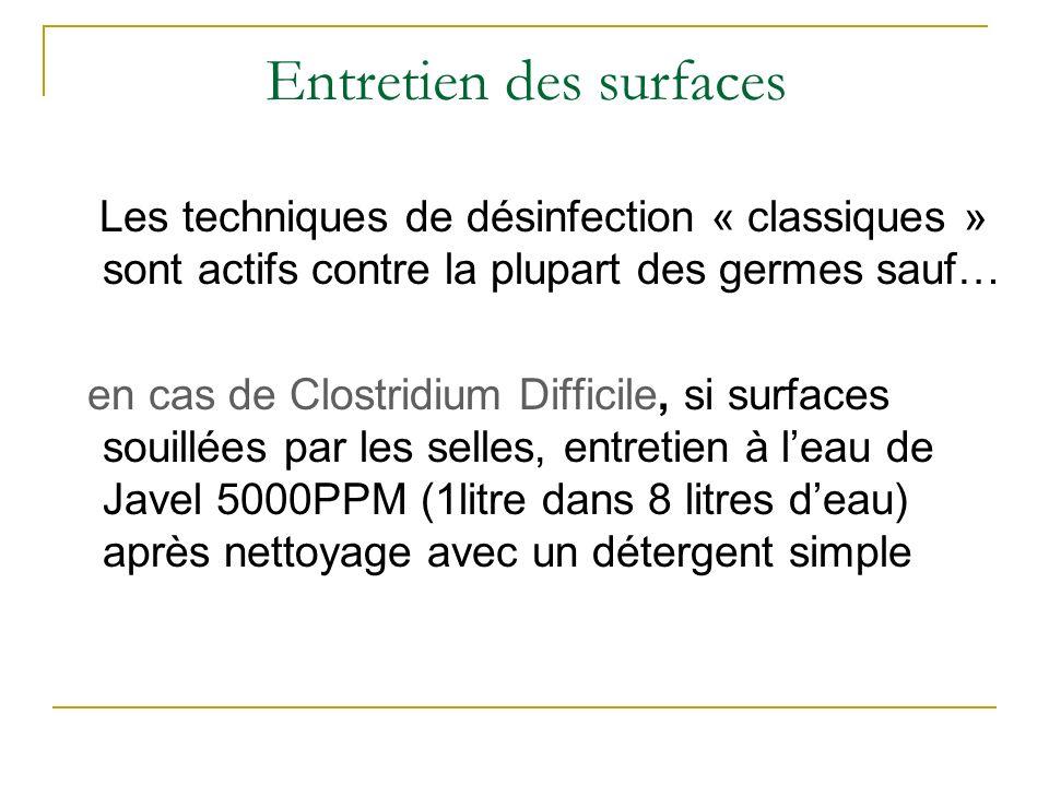 Les techniques de désinfection « classiques » sont actifs contre la plupart des germes sauf… en cas de Clostridium Difficile, si surfaces souillées pa