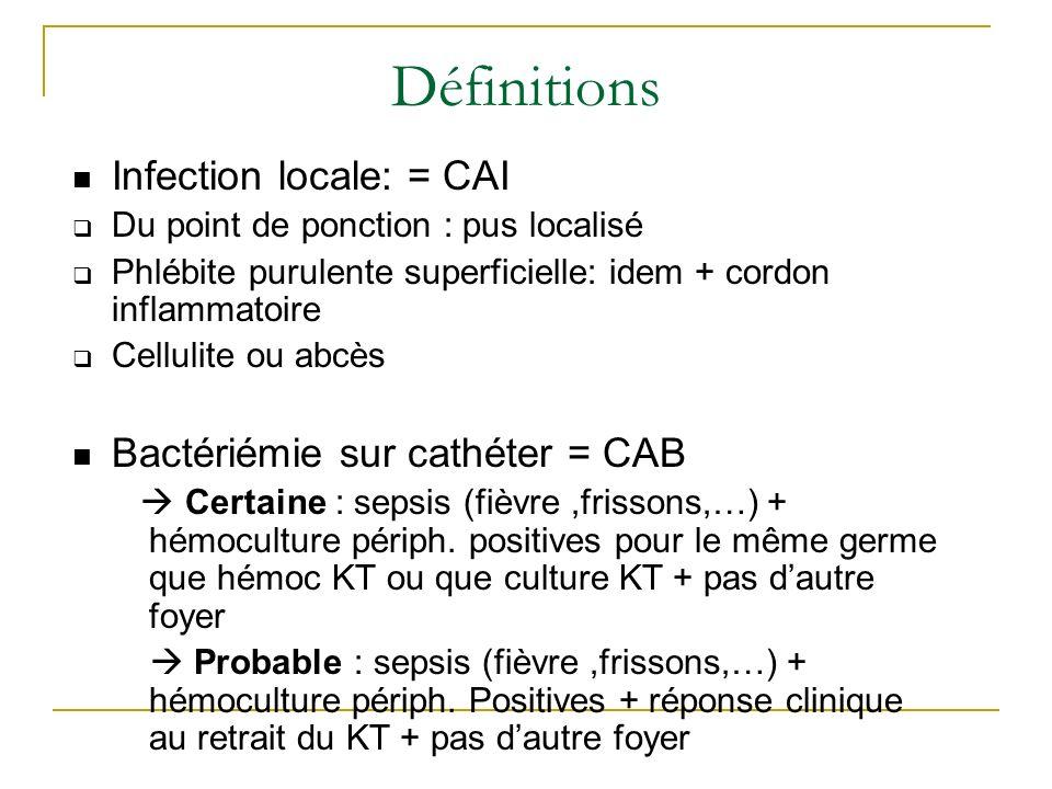 Définitions Infection locale: = CAI Du point de ponction : pus localisé Phlébite purulente superficielle: idem + cordon inflammatoire Cellulite ou abc