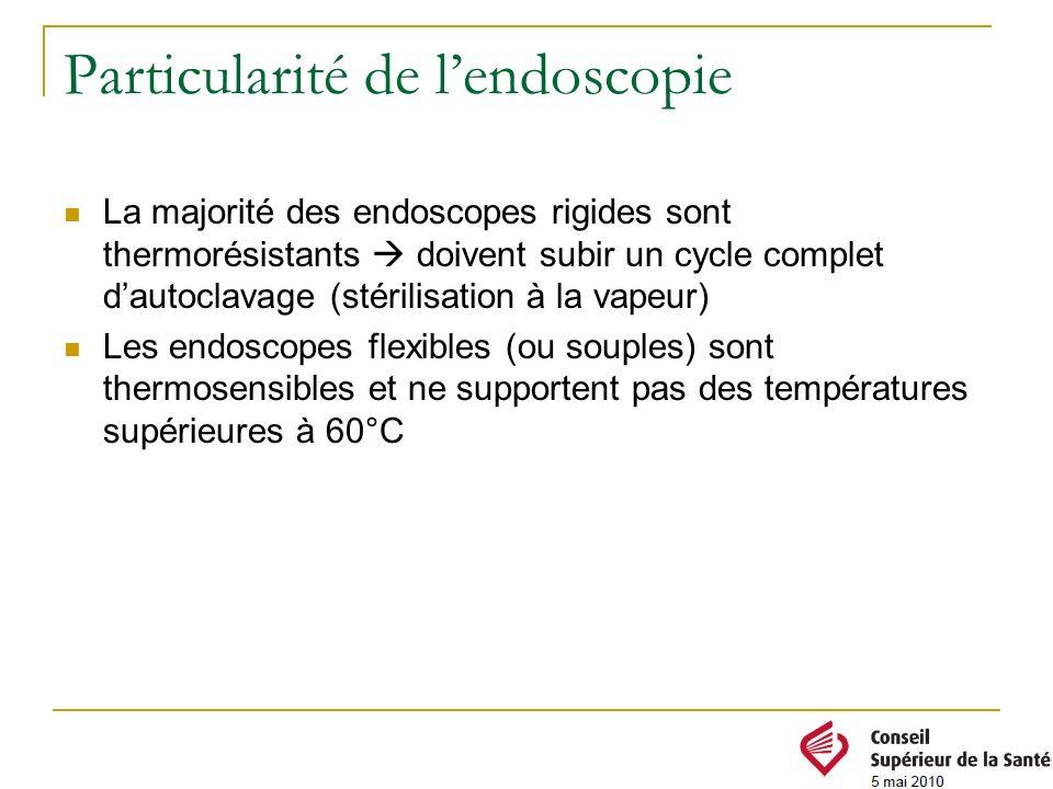 Particularité de lendoscopie La majorité des endoscopes rigides sont thermorésistants doivent subir un cycle complet dautoclavage (stérilisation à la