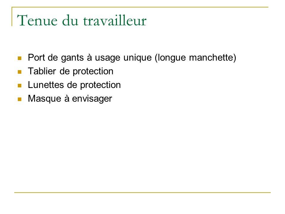 Tenue du travailleur Port de gants à usage unique (longue manchette) Tablier de protection Lunettes de protection Masque à envisager