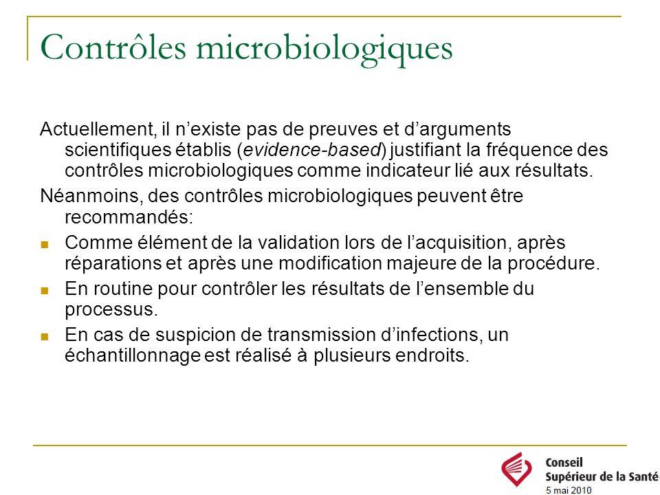 Contrôles microbiologiques Actuellement, il nexiste pas de preuves et darguments scientifiques établis (evidence-based) justifiant la fréquence des co