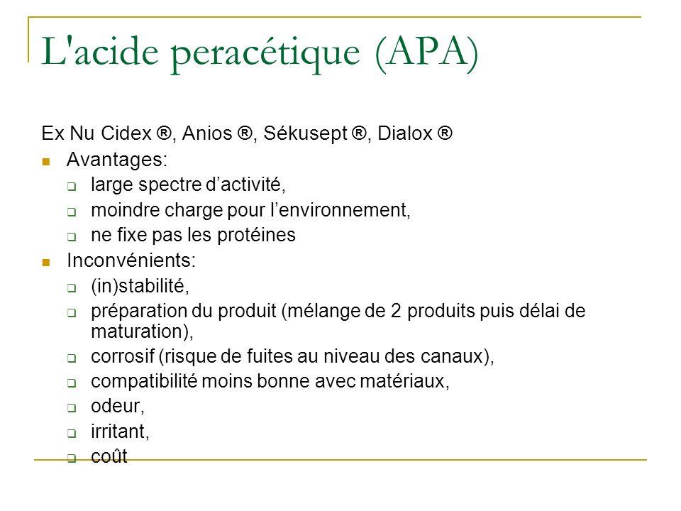L'acide peracétique (APA) Ex Nu Cidex ®, Anios ®, Sékusept ®, Dialox ® Avantages: large spectre dactivité, moindre charge pour lenvironnement, ne fixe