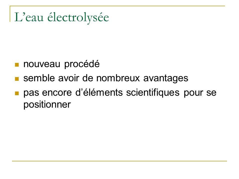 Leau électrolysée nouveau procédé semble avoir de nombreux avantages pas encore déléments scientifiques pour se positionner