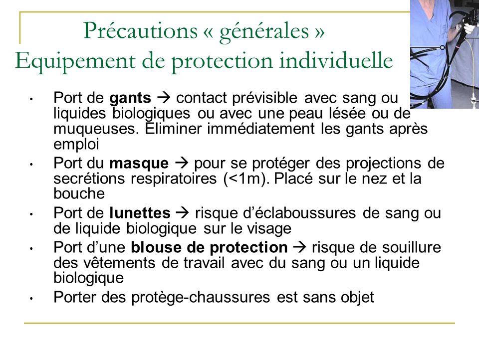 Précautions « générales » Equipement de protection individuelle Port de gants contact prévisible avec sang ou liquides biologiques ou avec une peau lé