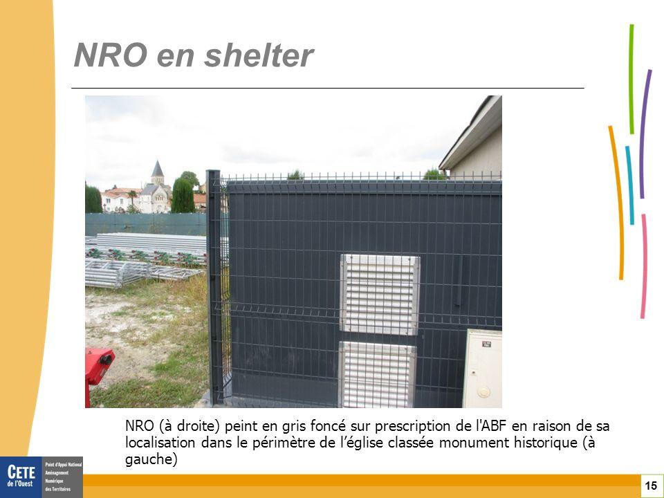 15 NRO en shelter NRO (à droite) peint en gris foncé sur prescription de l ABF en raison de sa localisation dans le périmètre de léglise classée monument historique (à gauche)