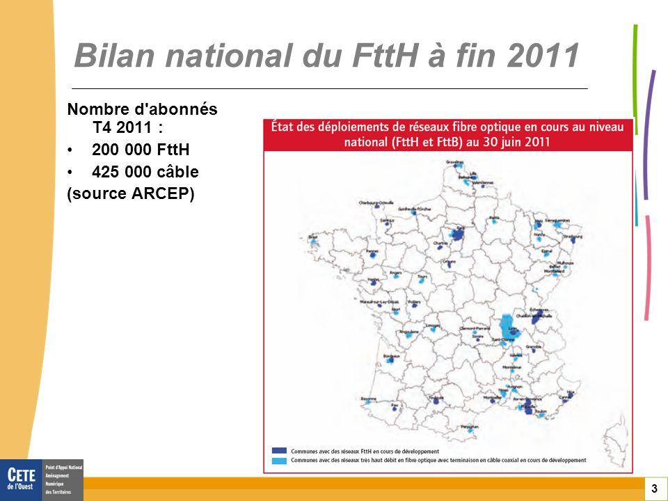 3 Bilan national du FttH à fin 2011 Nombre d abonnés T4 2011 : 200 000 FttH 425 000 câble (source ARCEP)