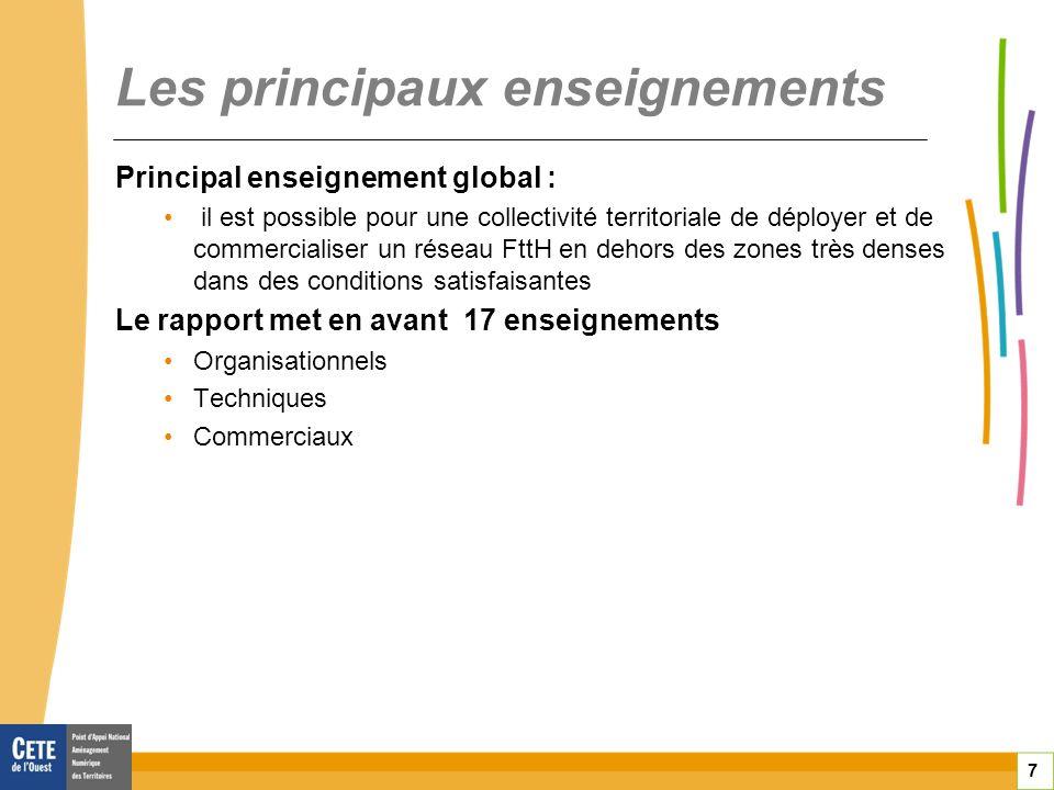 7 Les principaux enseignements Principal enseignement global : il est possible pour une collectivité territoriale de déployer et de commercialiser un réseau FttH en dehors des zones très denses dans des conditions satisfaisantes Le rapport met en avant 17 enseignements Organisationnels Techniques Commerciaux