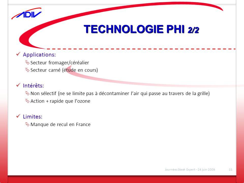 TECHNOLOGIE PHI 2/2 Applications: Applications: Secteur fromager/céréalier Secteur carné (étude en cours) Intérêts: Intérêts: Non sélectif (ne se limi