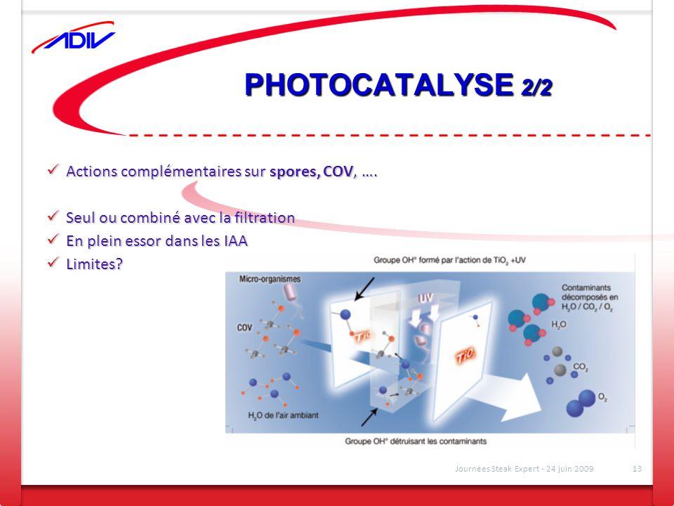 PHOTOCATALYSE 2/2 Actions complémentaires sur spores, COV, …. Actions complémentaires sur spores, COV, …. Seul ou combiné avec la filtration Seul ou c