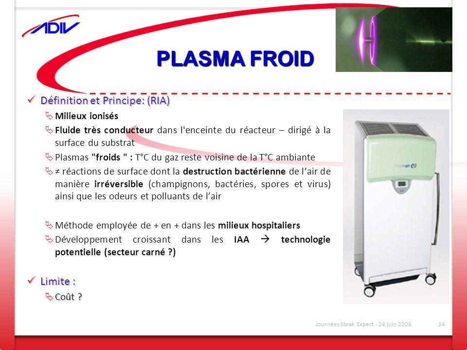 PLASMA FROID Définition et Principe: (RIA) Définition et Principe: (RIA) Milieux ionisés Fluide très conducteur dans l'enceinte du réacteur – dirigé à
