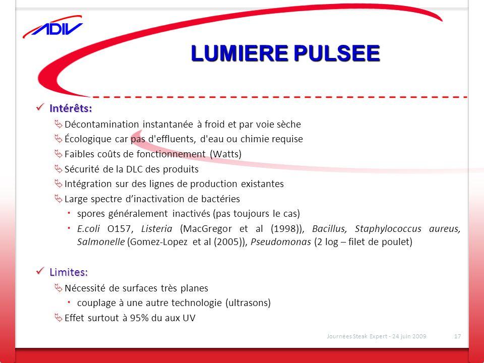 LUMIERE PULSEE Intérêts: Intérêts: Décontamination instantanée à froid et par voie sèche Écologique car pas d'effluents, d'eau ou chimie requise Faibl