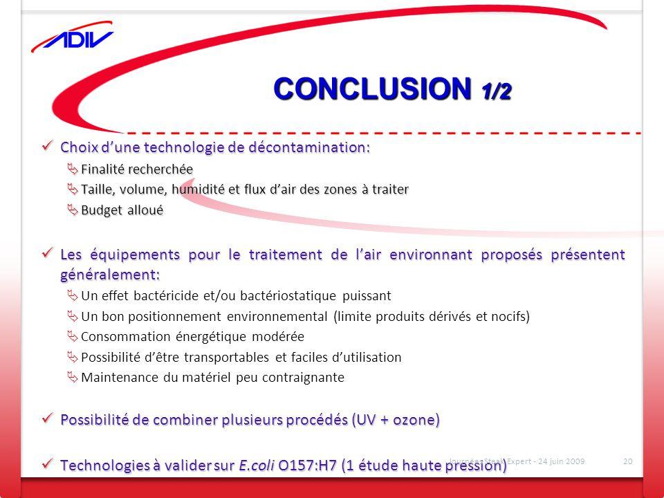 CONCLUSION 1/2 Choix dune technologie de décontamination: Choix dune technologie de décontamination: Finalité recherchée Finalité recherchée Taille, v