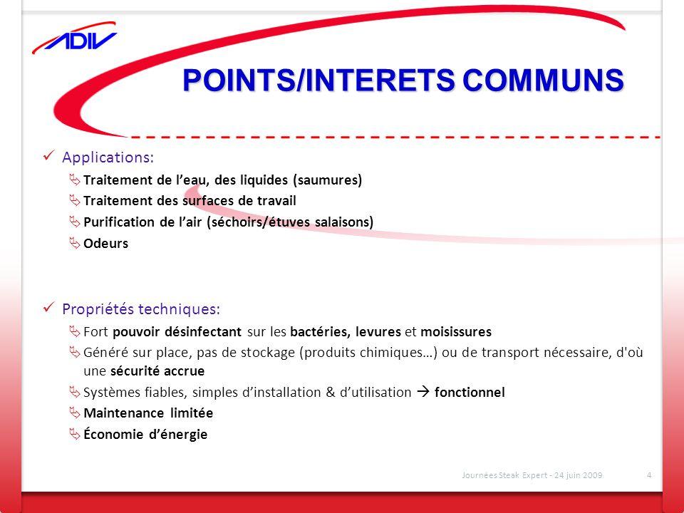 POINTS/INTERETS COMMUNS Applications: Traitement de leau, des liquides (saumures) Traitement des surfaces de travail Purification de lair (séchoirs/ét