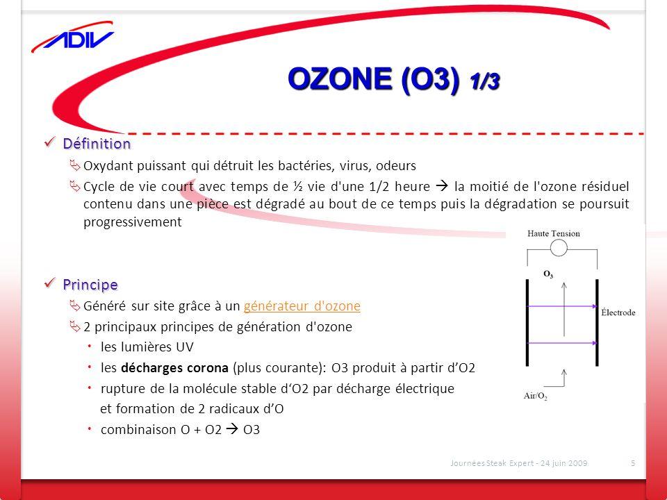 OZONE (O3) 1/3 Définition Définition Oxydant puissant qui détruit les bactéries, virus, odeurs Cycle de vie court avec temps de ½ vie d'une 1/2 heure