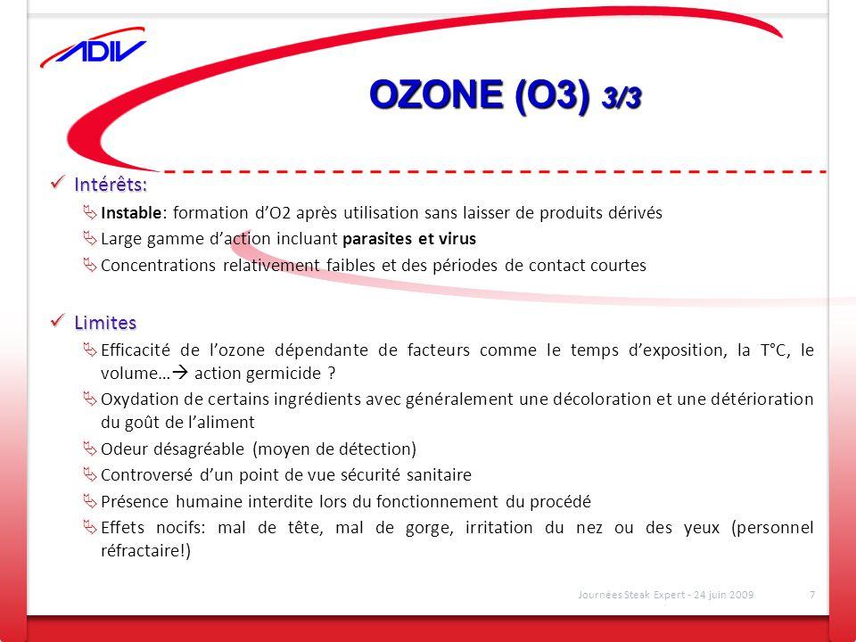 OZONE (O3) 3/3 Intérêts: Intérêts: Instable: formation dO2 après utilisation sans laisser de produits dérivés Large gamme daction incluant parasites e