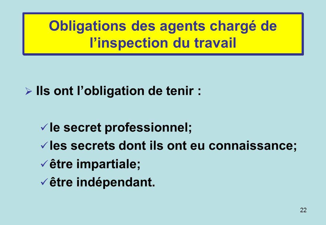 22 Obligations des agents chargé de linspection du travail Ils ont lobligation de tenir : le secret professionnel; les secrets dont ils ont eu connaissance; être impartiale; être indépendant.