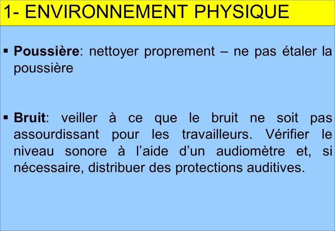 3 1- ENVIRONNEMENT PHYSIQUE Poussière: nettoyer proprement – ne pas étaler la poussière Bruit: veiller à ce que le bruit ne soit pas assourdissant pour les travailleurs.