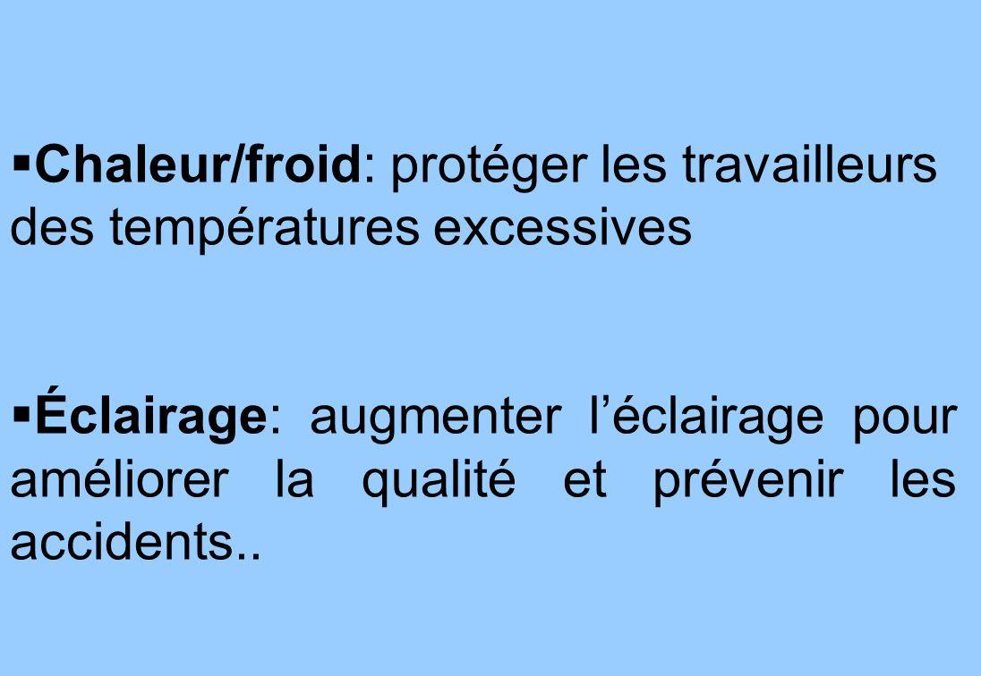 4 Chaleur/froid: protéger les travailleurs des températures excessives Éclairage: augmenter léclairage pour améliorer la qualité et prévenir les accidents..