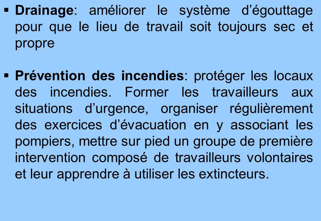 6 Drainage: améliorer le système dégouttage pour que le lieu de travail soit toujours sec et propre Prévention des incendies: protéger les locaux des incendies.