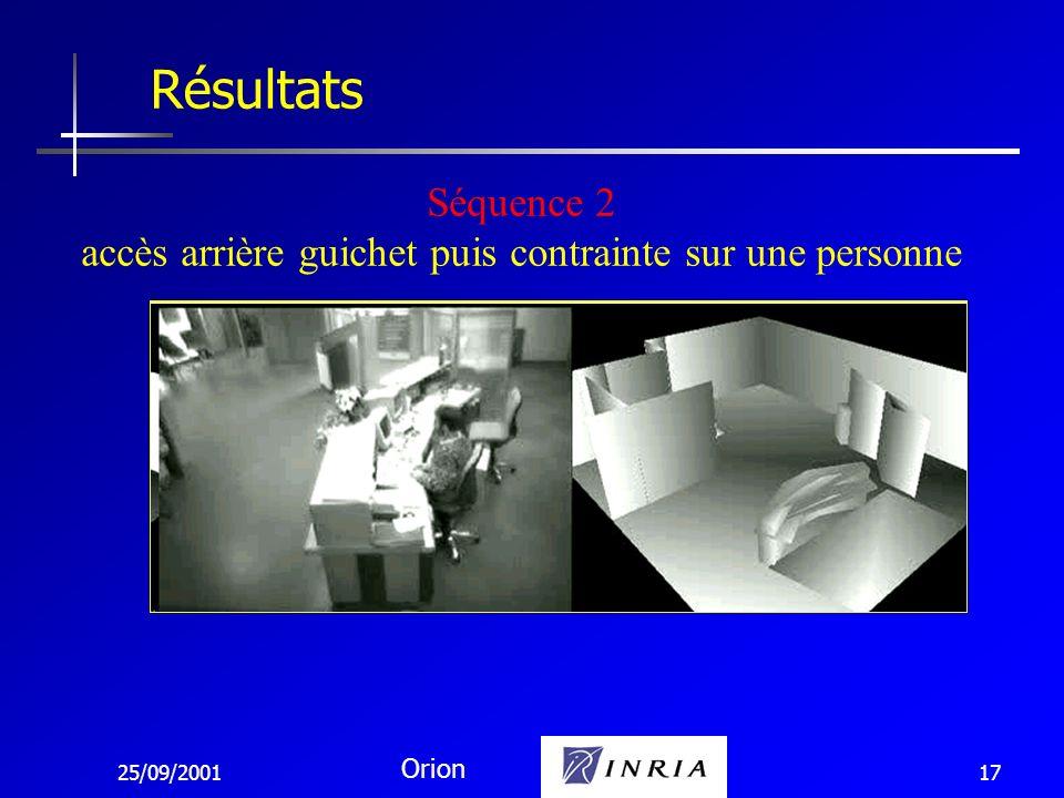 25/09/2001 Orion 17 Résultats Séquence 2 accès arrière guichet puis contrainte sur une personne