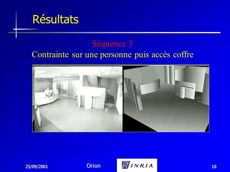 25/09/2001 Orion 18 Résultats Séquence 3 Contrainte sur une personne puis accès coffre