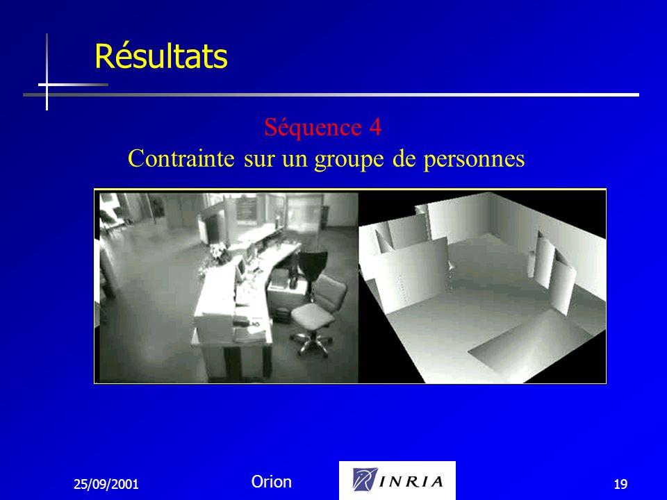 25/09/2001 Orion 19 Résultats Séquence 4 Contrainte sur un groupe de personnes