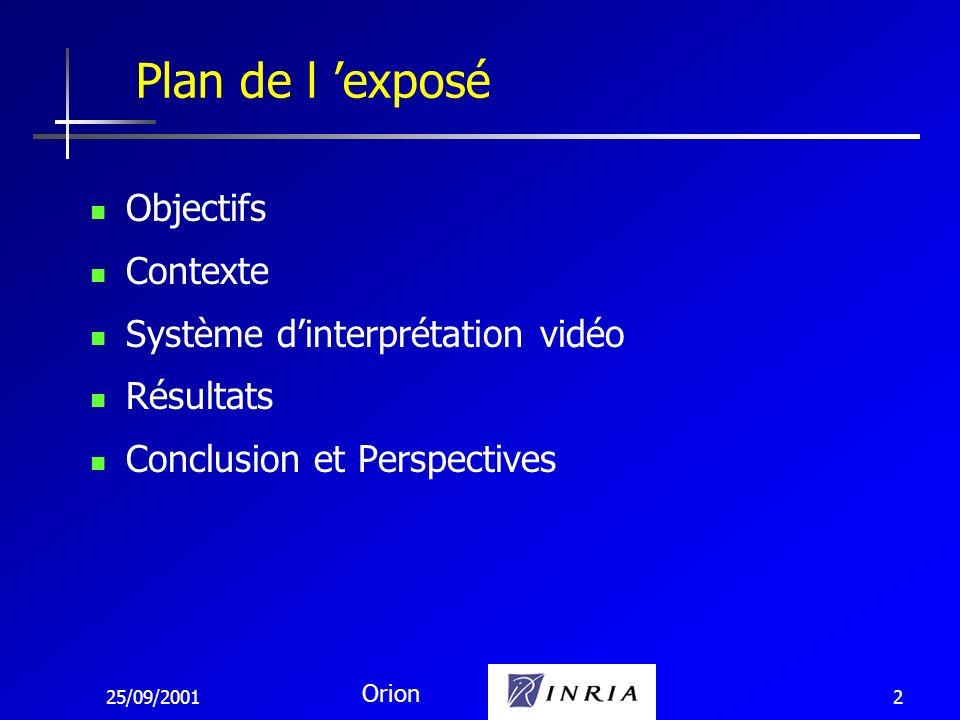 25/09/2001 Orion 3 Analyse automatique de vidéo: permet d analyser un grand nombre de caméras Reconnaissance de comportements intéressants: focalisation sur des cas utiles alerte des opérateurs pour décisions Objectifs