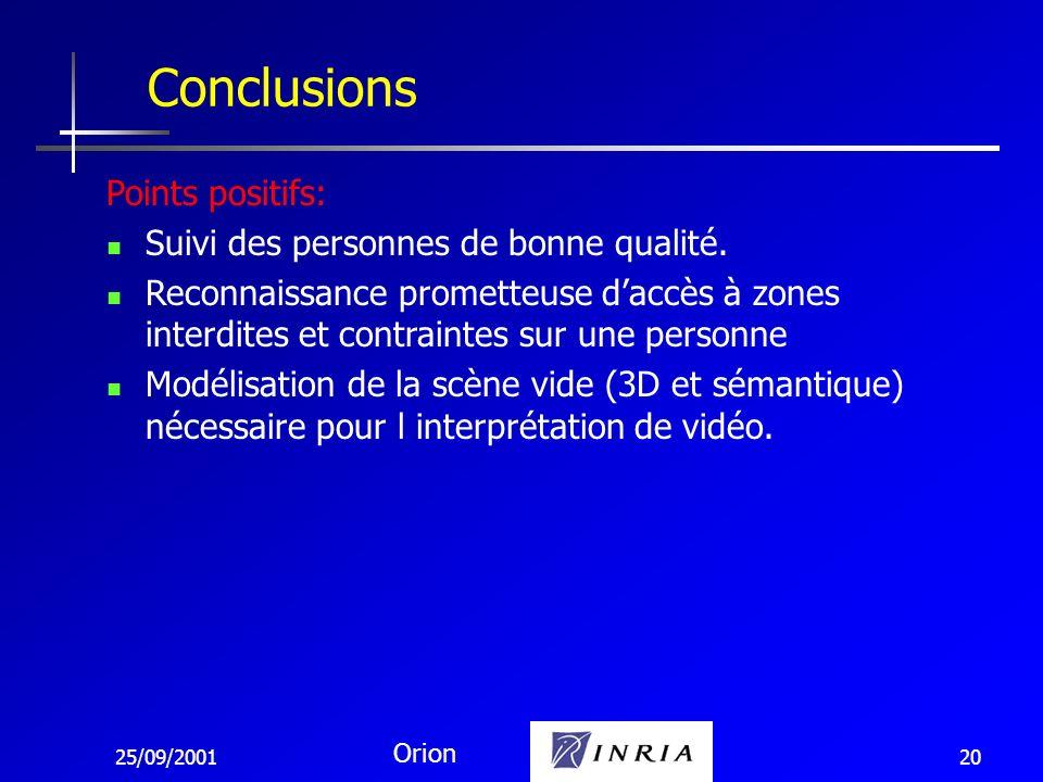 25/09/2001 Orion 20 Conclusions Points positifs: Suivi des personnes de bonne qualité. Reconnaissance prometteuse daccès à zones interdites et contrai
