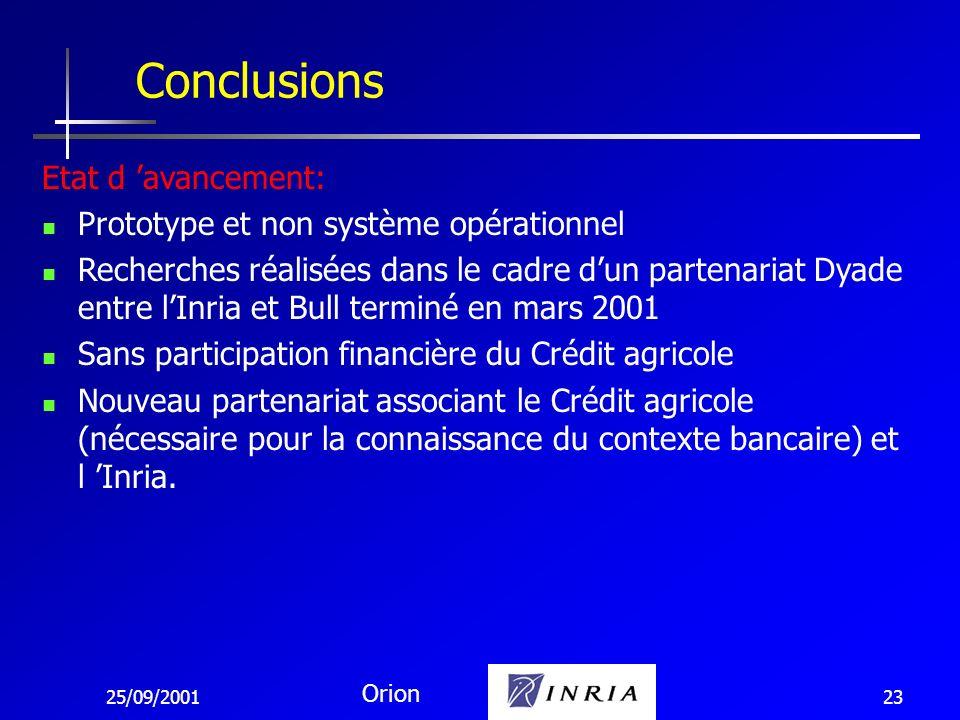 25/09/2001 Orion 23 Conclusions Etat d avancement: Prototype et non système opérationnel Recherches réalisées dans le cadre dun partenariat Dyade entr
