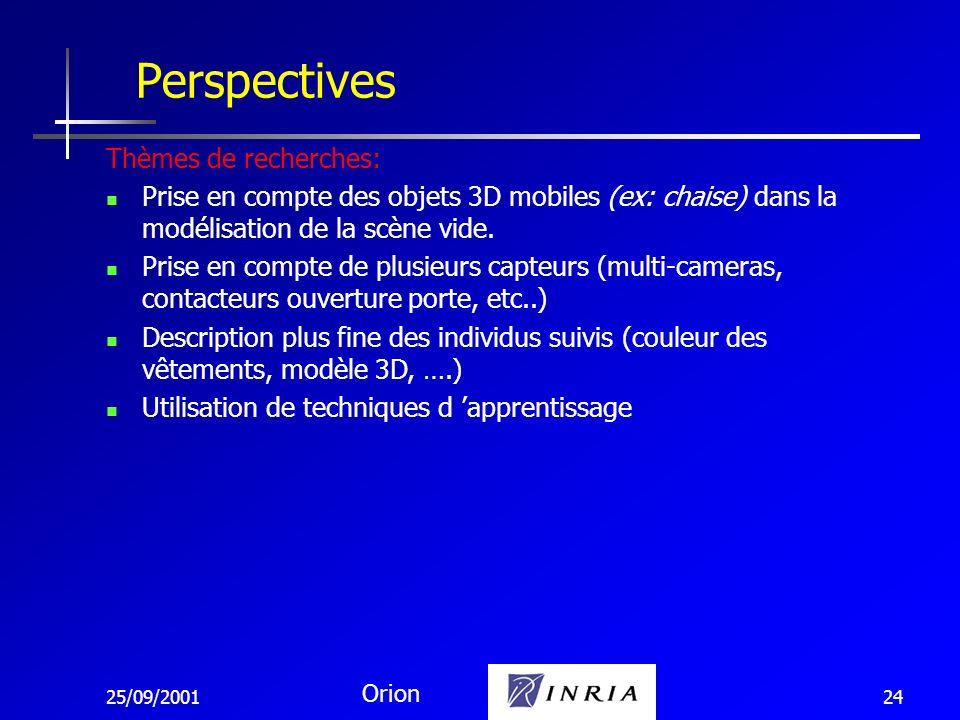25/09/2001 Orion 24 Perspectives Thèmes de recherches: Prise en compte des objets 3D mobiles (ex: chaise) dans la modélisation de la scène vide. Prise