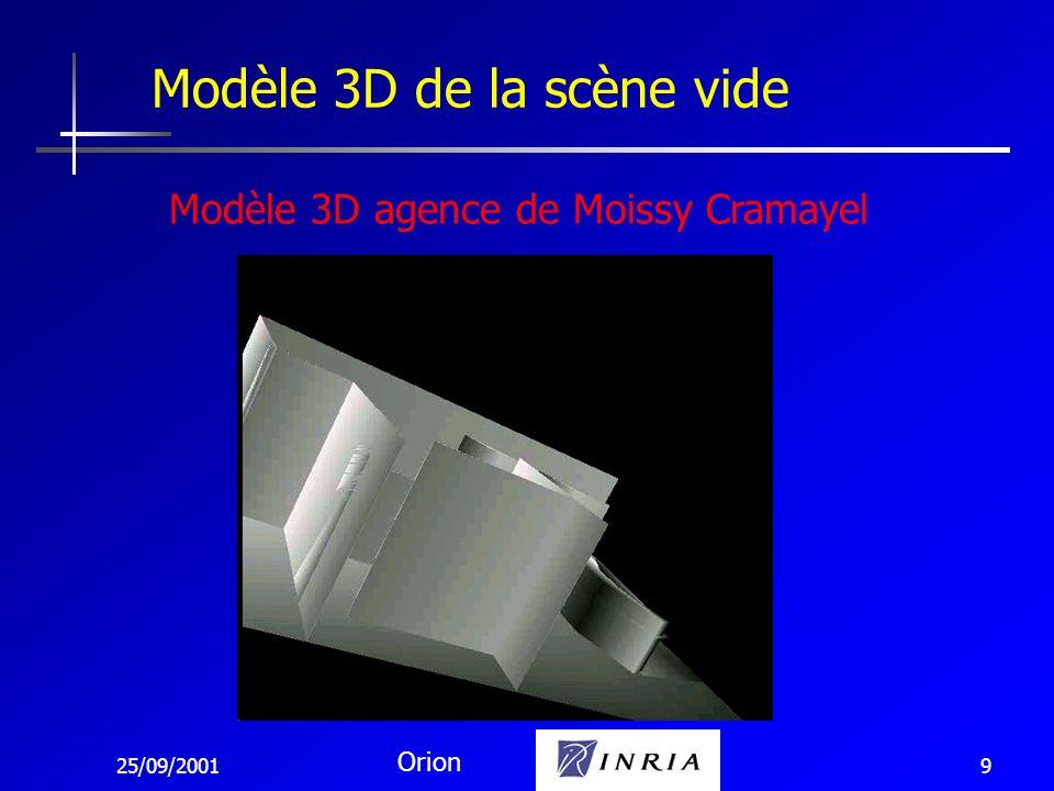 25/09/2001 Orion 10 Différence entre 1 image courante et 1 image virtuelle (calculée) de la scène vide Segmentation du mouvement _