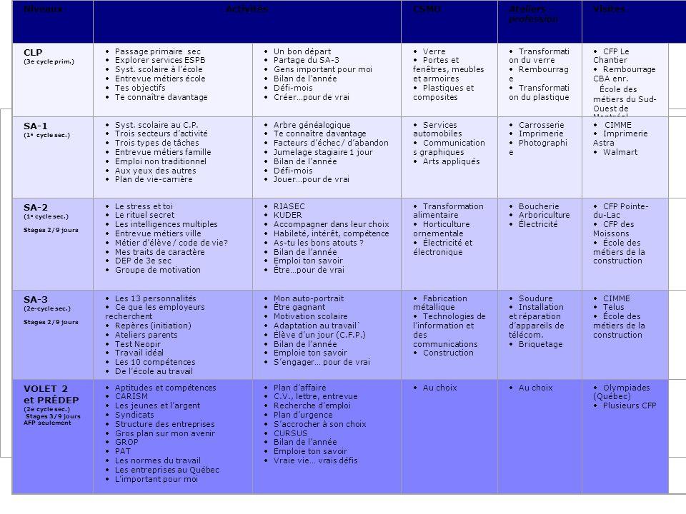 Description du projet 1.1 Description des activités selon les niveaux NiveauxActivitésCSMOAteliers - profession Visites CLP (3e cycle prim.) Passage primaire sec Explorer services ESPB Syst.