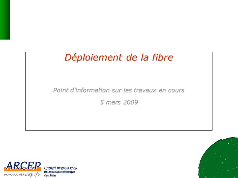 2 Etat du déploiement de la fibre Les principaux acteurs du haut débit ont annoncé des plans de déploiement de la fibre –près de 2 milliards deuros de projets dinvestissements annoncés à ce jour –Les déploiements se concentrent à ce stade sur les zones où les opérateurs ont pu disposer de facilités daccès au génie civil : principalement à Paris pour Free et SFR, grâce aux galeries visitables du réseau dassainissement Numéricâble a engagé un plan de modernisation de son réseau France Télécom est présente sur une dizaine dagglomérations Lappétence des opérateurs pour le très haut débit résulte en partie du succès du haut débit en France –plus de 98% de la population couverte en haut débit et 55% de taux de pénétration –plus de 75% de la population couverte en dégroupage et environ 50% en « triple play » ADSL –un bon bilan auquel contribuent les collectivités territoriales au travers des réseaux dinitiative publique Allemagne Danemark France Pays-Bas Norvège Italie Suède foyers éligibles abonnés Déploiement du très haut débit en Europe (fin 2008, source IDATE et estimation ARCEP pour la France) (estimation)